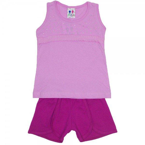 conjunto menina rosa com strass e babado frontal e shorts wkd 174 ros 02