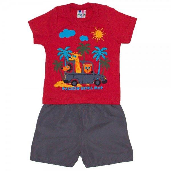 conjunto menino vermelho com silk animais e bermuda tactel wkd 203 vrm 01