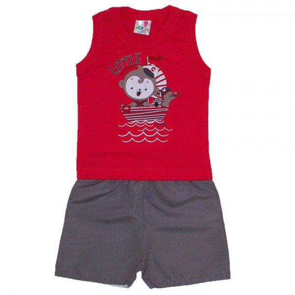 conjunt menino vermelho com silk little marinheiro e bermuda tactel wkd 202 vrm 01
