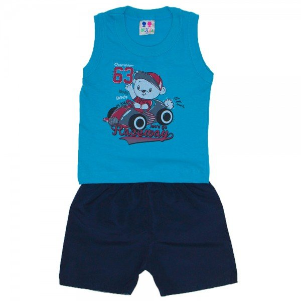 conjunto menino azul turquesa com silk ursinho polar e bermuda tactel wkd 201 azt 01