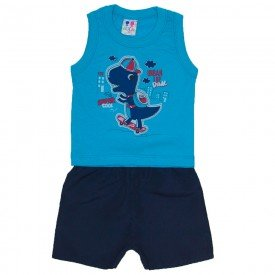 conjunto menino azul turquesa com silk dinossauro e bermuda tactel wkd 200 azt 01