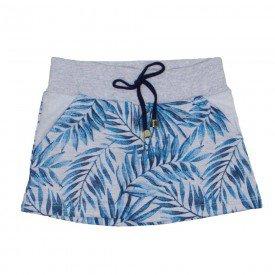 saia menina de moletom azul folhagem com shorts 1166