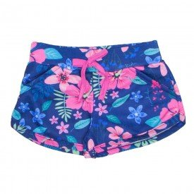shorts menina de moletom marinho floral tropical 1165