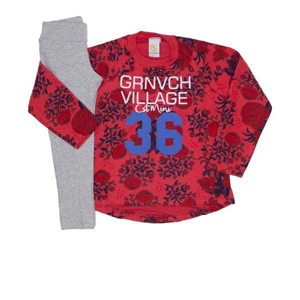 conjunto florido casaco vermelho florido e leg cor mescla 8907