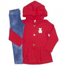 conjunto inverno casaco vermelho e leg em jeans claro 8908