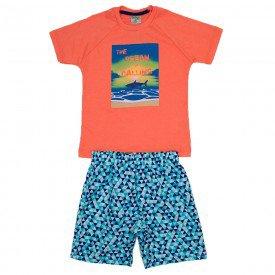 conjunto masculino laranja com azul de meia malha e bermuda de sarja estampada did 7660 lar 01