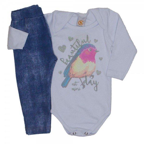 conjunto passarinho body manga longa na cor branca e calca jeans claro 8703