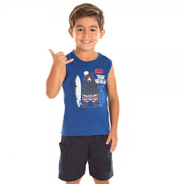 conjunto menino regata meia malha royal e shorts em moletinho marinho jak 7341 azu 04