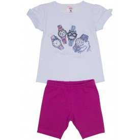 conjunto menina branco malha com frufru na manga com short rosa ale 3400 bra 01
