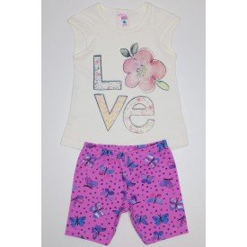 conjunto regata meia malha off love com shorts pink com borboletas ale 3404 off 01