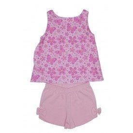 conjunto bata rosa flores e borboletas com babado e shorts rosa bebe ale 3410 ros 01