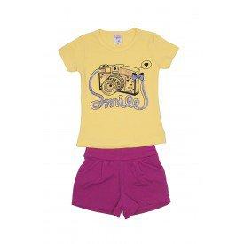 conjunto blusa amarela smile e shorts pink ale 3405 ama 01