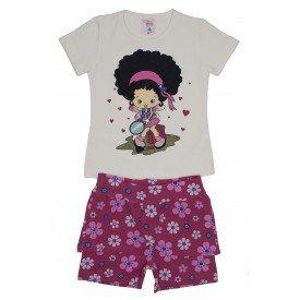 conjunto blusa de cotton off boneca com brilho e shorts saia rosa floral ale 3421 off 01