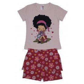 conjunto blusa de cotton rosinha boneca com brilho e shorts saia vermelho floral ale 3421 ros 01