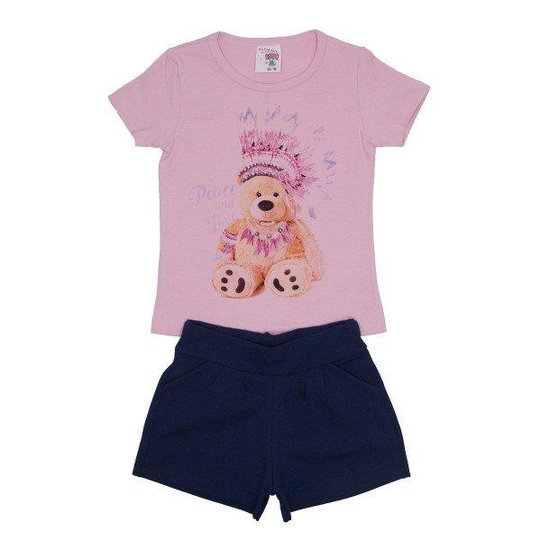 conjunto blusa rosa bebe urso com strass e shorts azul ale 3419 ros 01