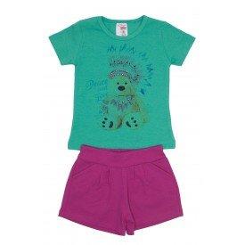 conjunto blusa verde urso com strass e shorts pink ale 3419 vrd 01