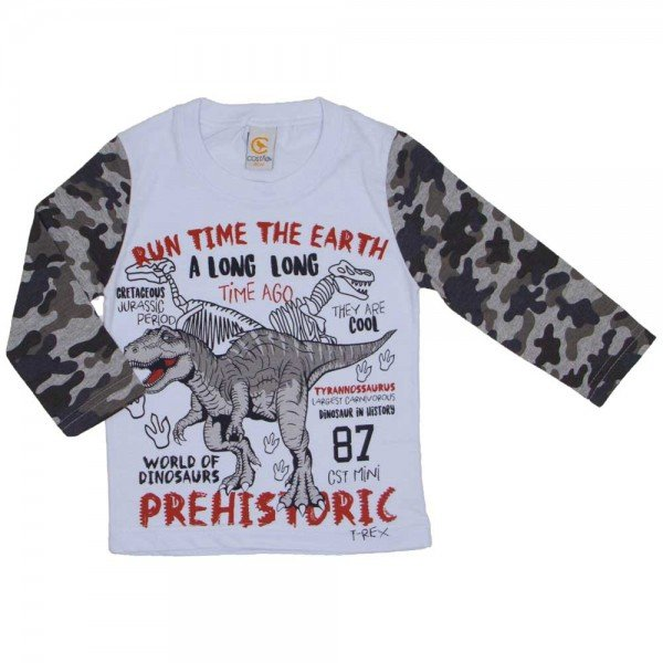 camiseta dinossauro prehistoric branca 8806 01