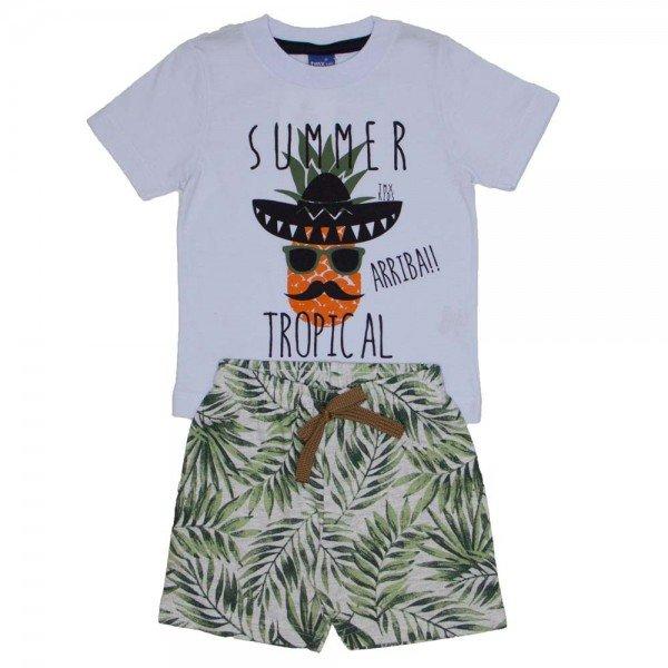 de25d75eab Conjunto Infantil Menino Camiseta Branca Summer e bermuda de moletom  folhagem 5251