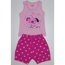 conjunto infantil feminino rosa com shorts pink poa lik 1818 ros 01