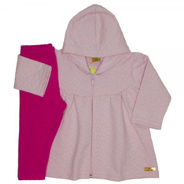 conjunto jaqueta matelasse coracoes rosa bebe 9501