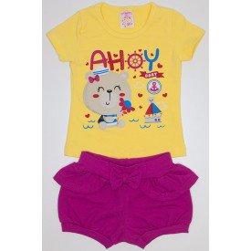 conjunto blusa amarela com manga cotton e shorts babanchinha com babado  franzido e lac o ale e8f2ce2ea2b