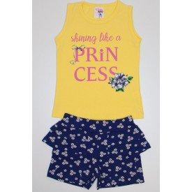 conjunto blusa de cotton amarela princess e shorts florido azul marinho com babado ale 3407 ama 01