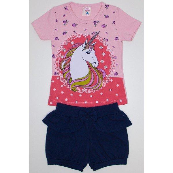 bb13d75dc conjunto para menina blusa de cotton rosa vermelho com manga e strass e  shorts bombachinha com