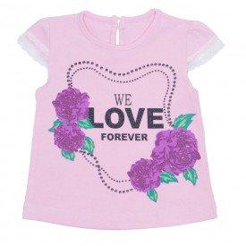 blusa menina de cotton rosa com renda nas mangas ale 2444 ros 01