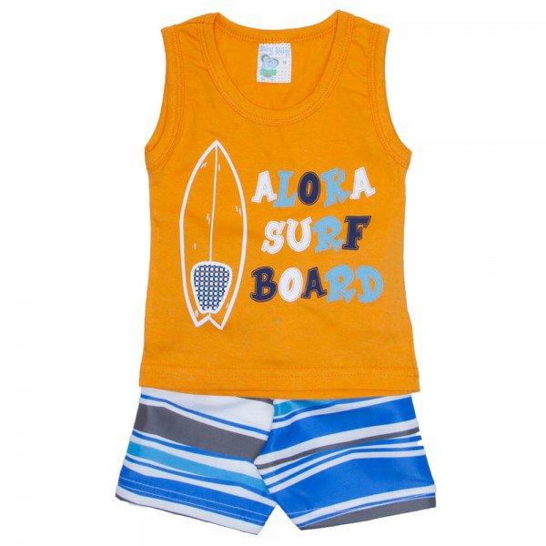 conjunto masculino camisa regata meia malha laranja surf e shorts tactel listrado 01