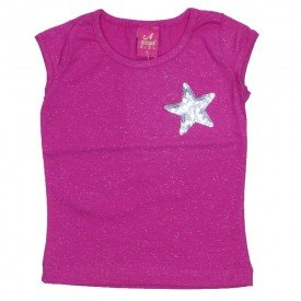 blusa menina star pink glitter 3518