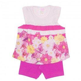 conjunto menina bata rosa listrada com shorts pink ale 2401 ros 01