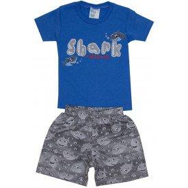 conjunto masculino com camisa meia malha azul tubarao e shorts de tactel cinza ale 6413 azu 01