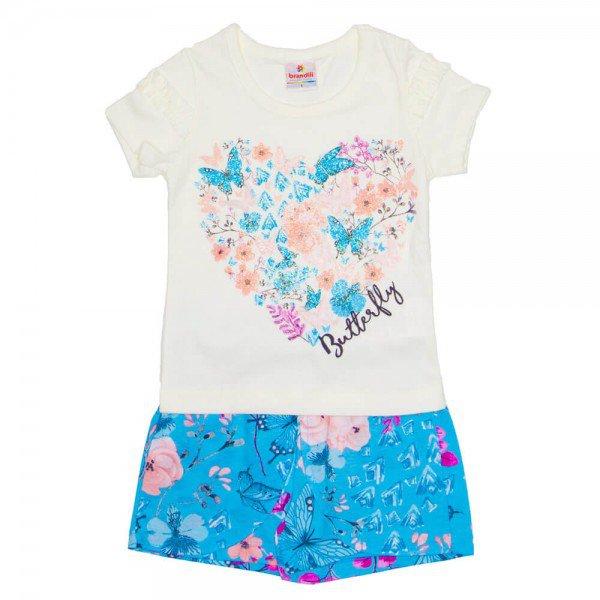 Conjunto Infantil Menina Off-Azul Céu com Estampa Borboleta - Brandili 1e202db7e1b4a