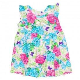 vestido infantil menina rosa floral com lac o dourado brandili 01