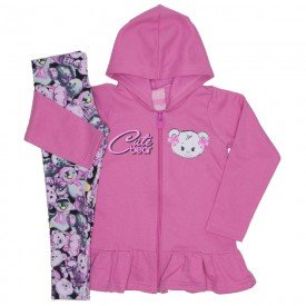 conjunto moletom cute bear rosa 9520