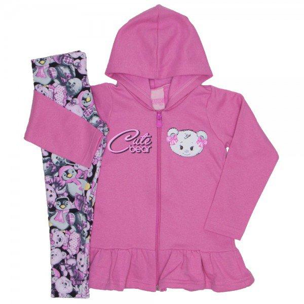conjunto moletom cute bear rosa 9520