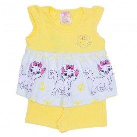 conjunto bata amarela manga com strass e shorts cotton amarelo ale 2415 ama 01