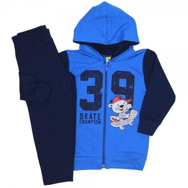 conjunto moletom skate champion azul 9530