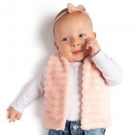 colete bebe menina polar rosa 0051
