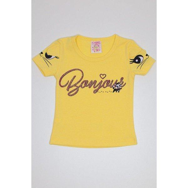 blusa de cotton amarela com estampa na manga e detalhe orelhinha ale 2446 ama 01