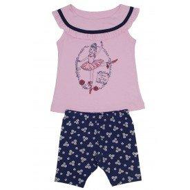 conjunto bata meia malha rosa bebe com babado franzido e bermuda azul florida ale 3420 ros 01