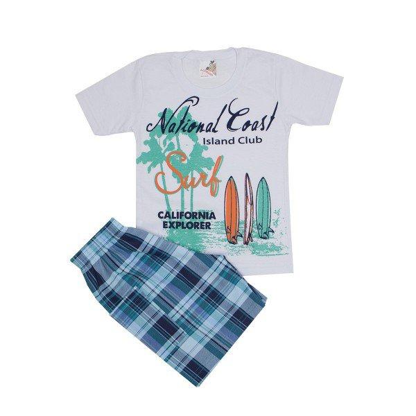 conjunto masculino camisa branca surf e shorts xadrez ale 7416 bra 02