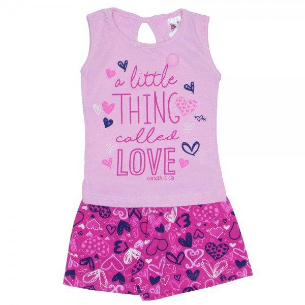 conjunto menina regata love rosa com pompom e shorts estampado pink