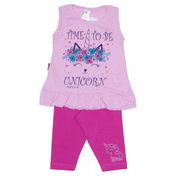 conjunto bata unicornio rosa e legging pink com strass 01