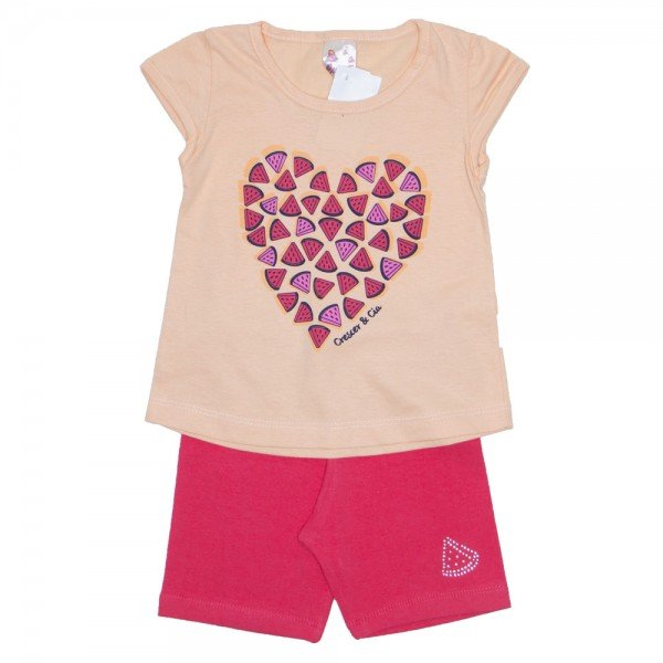 conjunto camiseta coral coracao com shorts laranja 01