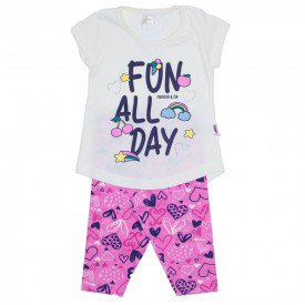 conjunto camiseta off e legging estampada rosa 01