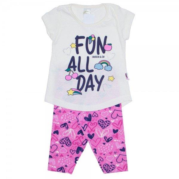 conjunto camiseta off e legging estampada rosa 01