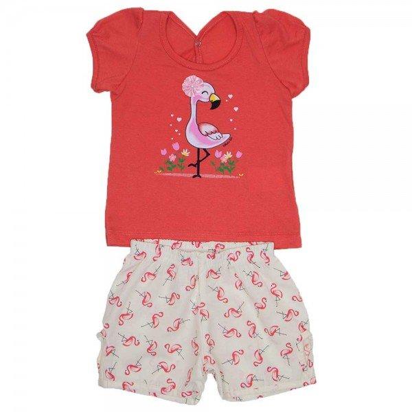 conjunto blusa papoula meia malha silk de flamingo com shorts de tricoline wil 3852 pap 01