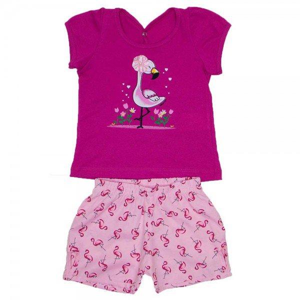 conjunto blusa pink meia malha silk de flamingo com shorts de tricoline wil 3852 pin 01