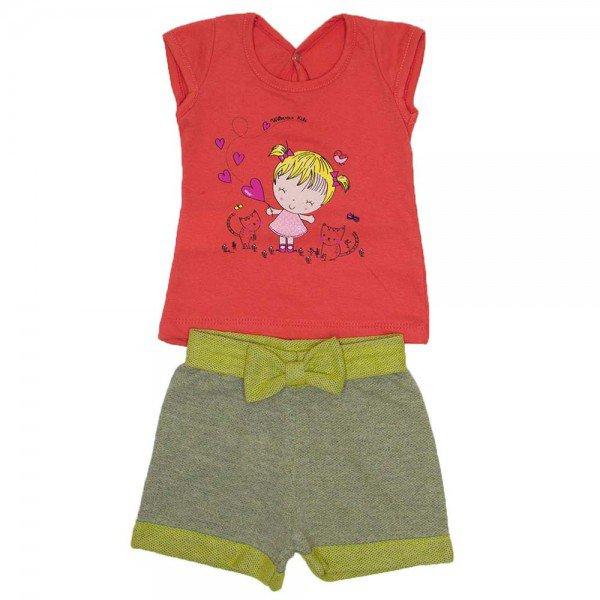 conjunto blusa papoula meia malha com silk de menina shorts de favo wil 3853 pap 01